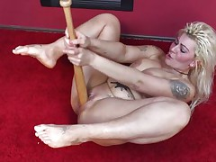 Because dildos and hard cocks are not enough anymore I once used a baseball bat to fuck myself. It felt so good ripping my pussy with that bat and the only thing I could thought was to stick it deeper in me. Hope you guys enjoy the show and you will stay with me as I have a lot more to play with!