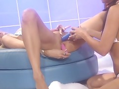 Chick is sucking large piece of meat previous to getting it in snatch
